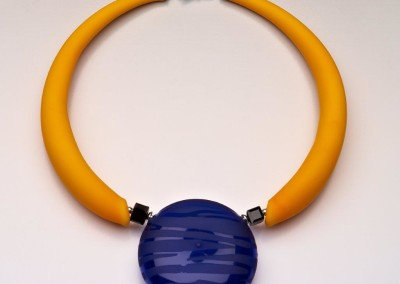 """Battuto"" Blue Glass Bead, Curved Glass Tubes"