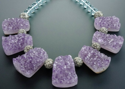 Amethyst Druzy Drops, Silver and Diamond Beads